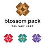 Set of packaging blossom logo identity. Set of packaging open box blossom logo identity Vector Illustration