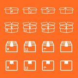 Set of packaging box icon. Flat shipping pack simple vector illu Royalty Free Stock Image