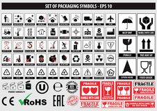 Set of packaging symbols, FCC,ROHS,tableware, plastic, fragile symbols, cardboard symbols. This side up, handle with care, fragile, keep dry, keep away from vector illustration