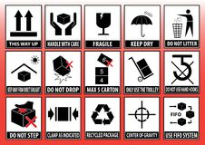 Set Of Packaging Symbols. Packaging symbols (this way up, handle with care, fragile, keep dry, use fifo system, do not use hand hooks, do not use cutter stock illustration