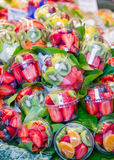 Set packed of fresh fruits in La Boqueria market, in Ramblas str Stock Photography
