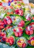 Set packed of fresh fruits in La Boqueria market, in Ramblas str stock photography