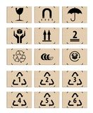 Set of packing icons on the cardboard boxes Royalty Free Stock Image