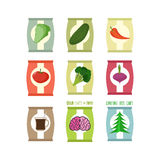 Set  packs chips. Packaging unusual flavour: coffee and brain, c. Ucumbe and broccoli. Chips especially for zombies. Chips for new year Christmas tree with taste Royalty Free Stock Images