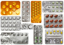 Set of packs of pills isolated on white Stock Photos