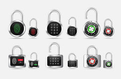 Set padlock round and square, closed and open with different typ Stock Photography
