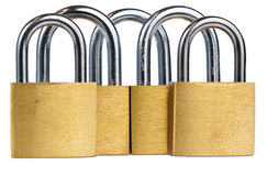 Set of padlocks isolated on white Stock Photos