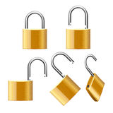 Set of Padlocks. Open and Closed. Vector Royalty Free Stock Photos