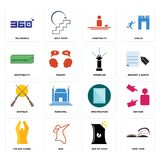 Set of page turn, bag chips, folded hands, specification, shotgun, sprinkler, adaptability, hospitality, 360 degree icons. Set Of 16 simple  icons such as page Royalty Free Stock Image