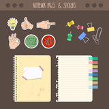 Set of pages notebook with stickers, colored tape, staples. Template for school accessories, scrapbook, wrapping Royalty Free Stock Images
