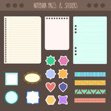 Set of pages notebook with stickers, colored tape, staples. Template for school accessories, scrapbooking, wrapping Royalty Free Stock Images