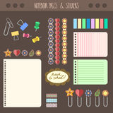 Set of pages notebook with stickers, colored tape, staples. Template for school accessories, scrapbooking, wrapping Royalty Free Stock Photos