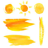 Set of paint brush strokes and splotches. Yellow Royalty Free Stock Photography