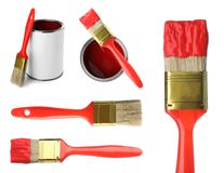 Set of paint brushes and cans. On white background stock image