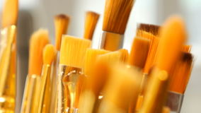 Set of paint brushes close-up. Art studio concept. stock footage