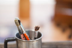 Set of paint brushes in a mug Royalty Free Stock Image