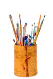 Set of paint brushes in pencil holder Royalty Free Stock Photo