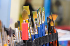 Set of paint brushes. Selective focus. Set of paint brushes for drawing. Selective focus Royalty Free Stock Image