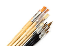 Set of paint brushes on white background Stock Images