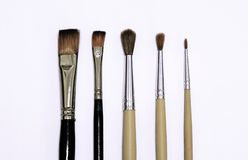Set of paint brushes  on the white background Stock Photos