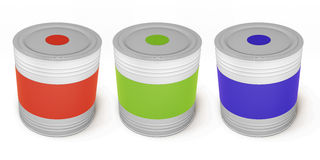 Set of paint cans different color. 3d. Royalty Free Stock Images