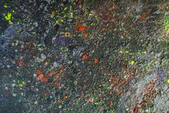 Paint-stained space, abstract texture. A set of paint stains on the dark background. copyspace. abstract splashes. horizontal picture Royalty Free Stock Photography