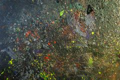 Paint-stained space, abstract texture. A set of paint stains on the dark background. copyspace. abstract splashes. horizontal picture Stock Photography