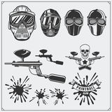 Set of paintball club labels, emblems, symbols, icons and design elements. Paintball equipment. Royalty Free Stock Images