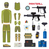 Set of paintball club symbols icons protection uniform and sport game design elements shooting man costume equipment Royalty Free Stock Images