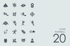Set of paintball icons Royalty Free Stock Images
