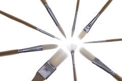 Set of paintbrushes in a radial pattern Stock Photos