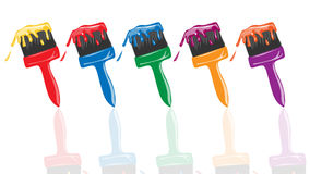 Set of paintbrushes. Vector illustration of set of paintbrushes  with different color Stock Photos