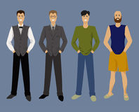 Set of painted beautiful men with different styles of clothing in a flat. Vector illustration Royalty Free Stock Images