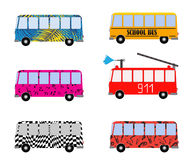 Set of Painted Cartoon Buses for Vacation, School, Fire truck and Musical. Vector Illustration. EPS10 Royalty Free Stock Photo