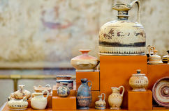 Set of painted clay vases from antiquity exposed in museum in Gr. Set of painted clay vases from antiquity exposed in museum Royalty Free Stock Photos