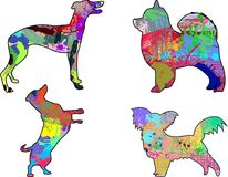 Set of 4 painted dogs Royalty Free Stock Photography