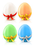 Set of painted easter eggs with bows Royalty Free Stock Photography