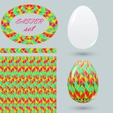 Set with painted Easter eggs and design details zenart style. Motley spring ornamental brush seamless pattern and frame for announ Stock Photo