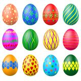 Set of painted Easter eggs with patterns Stock Photography