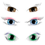 Set of painted eyes Stock Photography