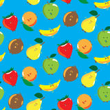 Set of painted fruits pattern Stock Photography