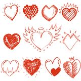 Set of painted hearts Royalty Free Stock Photos