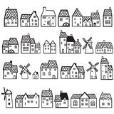Set painted houses Stock Images