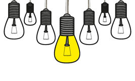 Set painted with yellow bulbs leader Royalty Free Stock Photography