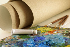 Set for painting with canvas stock photos