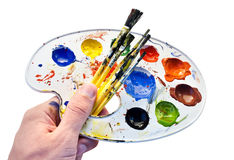 Set for painting in hand. Royalty Free Stock Photos