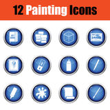 Set of painting icons. Royalty Free Stock Photo