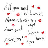 Set of painting inscriptions for Valentine's Day Stock Photo