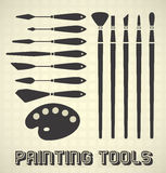 Painting Tools Collection. Set of Painting tools with brushes, palette, and knives Stock Photography