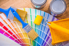 Set of painting tools paint brush roller tray can Stock Photo